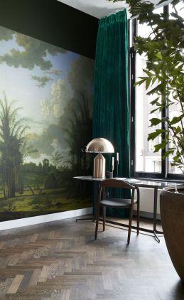 fototapet tropiskt landskap grönt, blått och senapsgrön