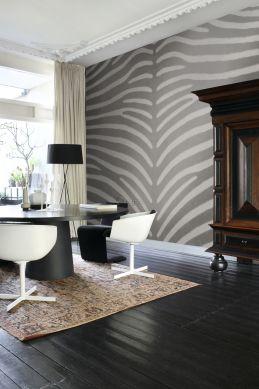 fototapet zebra mönster grått