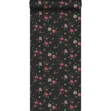 tapet blommor svart och rosa