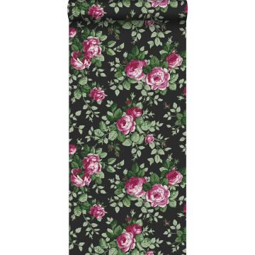 tapet rosor svart och rosa