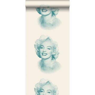 tapet Marilyn Monroe vitt och turkost