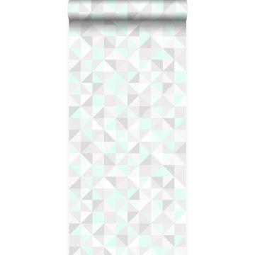 tapet trianglar mintgrönt, varm ljusgrått, matt vitt och glänsande smaragdgrönt