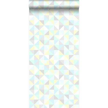 tapet trianglar mintgrönt, pastellgult, pastellblått, varm ljusgrått och glänsande silvergrått