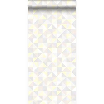 tapet trianglar ljust krämfärgat, varm ljusgrått, pastellgult och glänsande ljusbeige