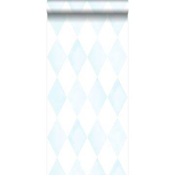 tapet rombmotiv pastellblått och matt vitt