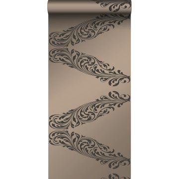 tapet ornament glänsande brons och brunt