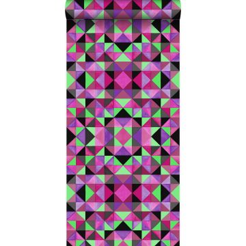 tapet kubism rosa och grönt