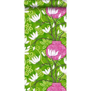tapet magnolia grönt och rosa