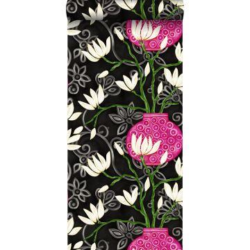 tapet magnolia svart och rosa