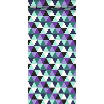 tapet grafiska trianglar lila och ljust azurblått