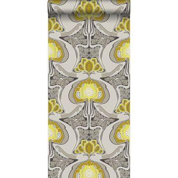 tapet Art Nouveau blommönster ockra och grått