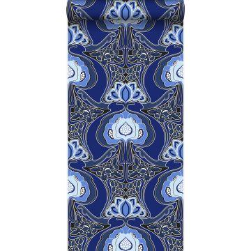 tapet Art Nouveau blommönster kungsblått