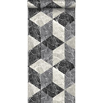 tapet 3D marmor motiv svart och grått