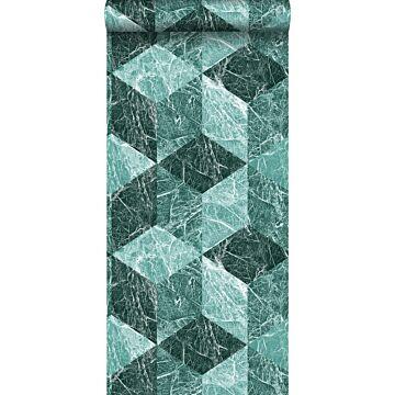 tapet 3D marmor motiv smaragdgrönt
