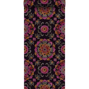 tapet suzani-blommor svart, orange och rosa