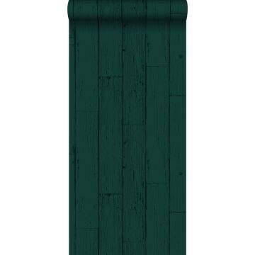 tapet slitna träplankor smaragdgrönt