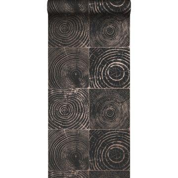 tapet tvärsnitt trädstammar matt svart och glänsande brons