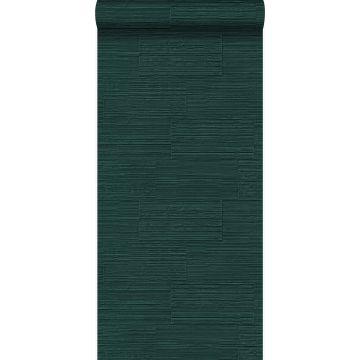 tapet grova retro naturliga stenblock halvstensmur smaragdgrönt