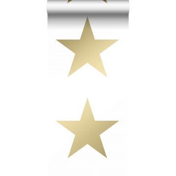 tapet stjärnor vitt och guld