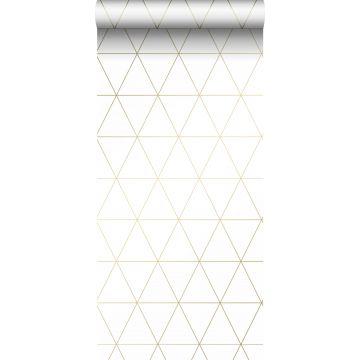 tapet grafiska trianglar vitt och guld