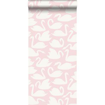 tapet svanar rosa och vitt