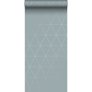 tapet grafiska trianglar vintage gråblått