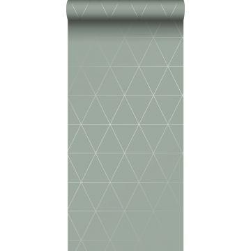 tapet grafiska trianglar grågrönt