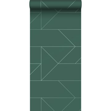 tapet grafiska linjer mörkgrönt