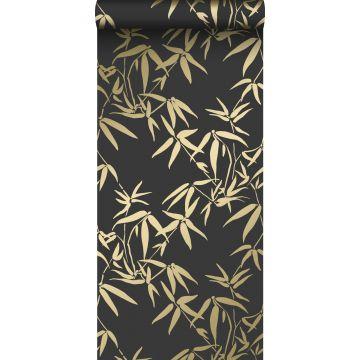 tapet bambublad svart och guld