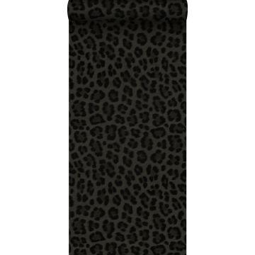 tapet leopardskinn mörkgrått och svart