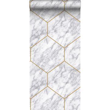 tapet sexkant med marmoreffekt vitt, grått och guld