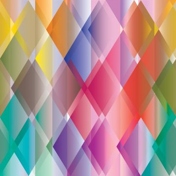fototapet färgglada trianglar gul, rosa, rött, lila och grönt