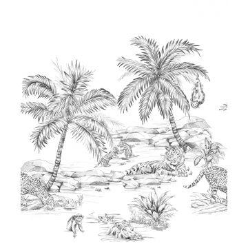 fototapet pennteckning safari svart och vitt